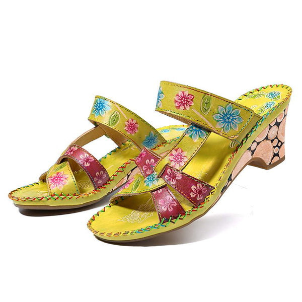 Knish's Retro Flowers Genuine Leather Sandals