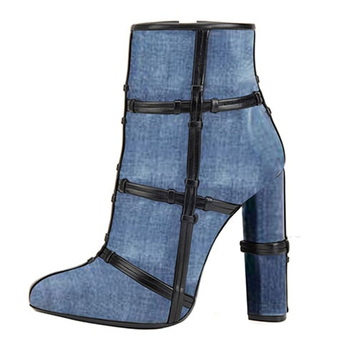 Jean Blue Block High Heel Ankle Boots