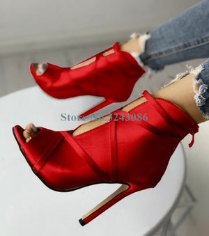 Red Satin Silk Boots