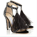 Crystal Feather Studded Summer Sandals