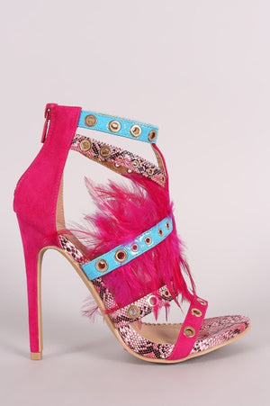 Feather Open Toe Sandals Multi-color