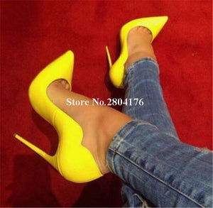 Yellow Stiletto Formal Dress Shoes