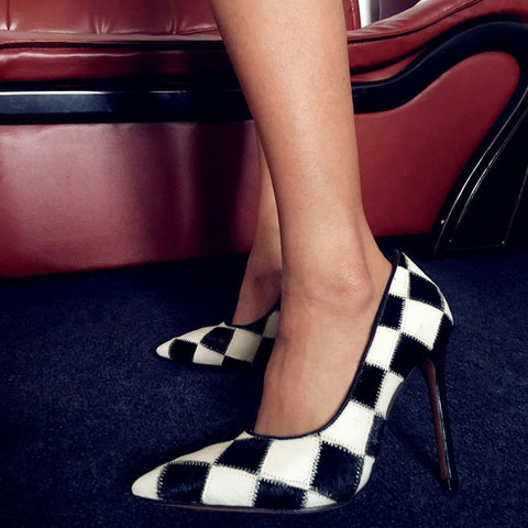 Black and White Checkered High Heels Shoes