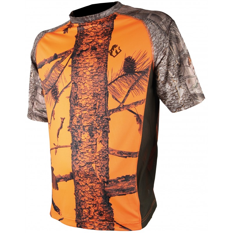 Tee shirt spandex camo orange - Approche Chasse