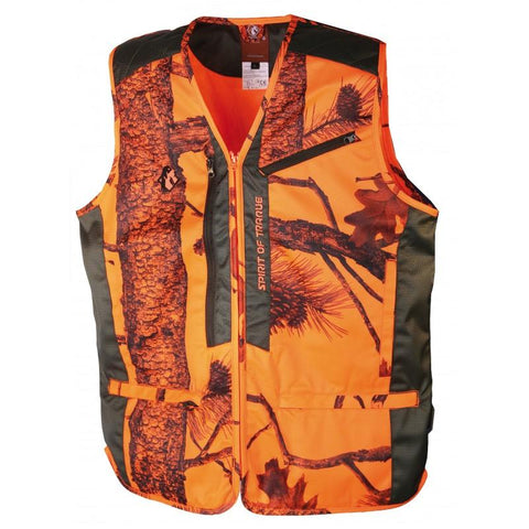 Gilet de chasse orange anti-ronce camo Somlys - Approche Chasse