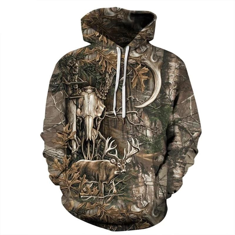 Pull de chasse camouflage Forest Deer 3D - Approche Chasse