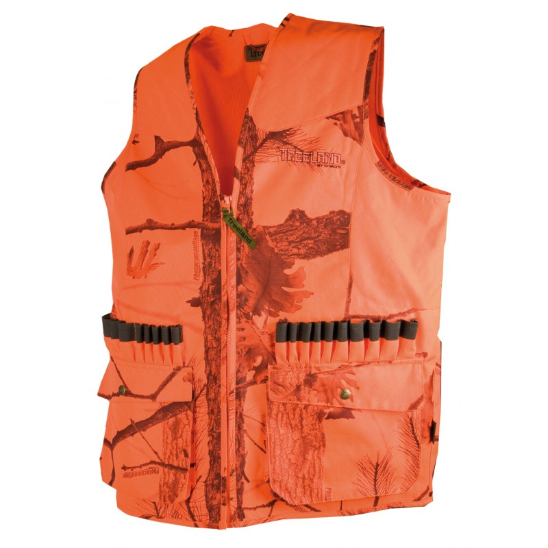 Gilet de chasse orange anti-ronce camo Fire 600D - Approche Chasse