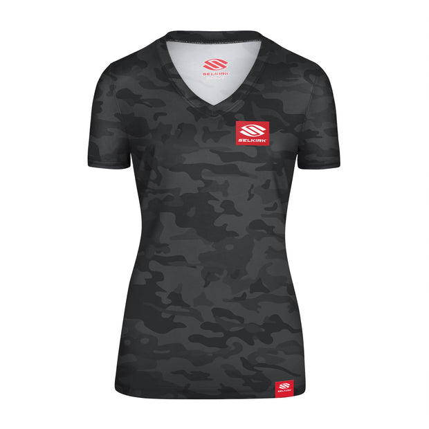 Selkirk Red Label Camo Women's Short Sleeve V-Neck Stretch-Wik Technology