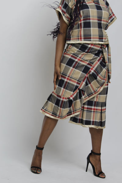 KATHERINE - CHECKED RUFFLE SKIRT