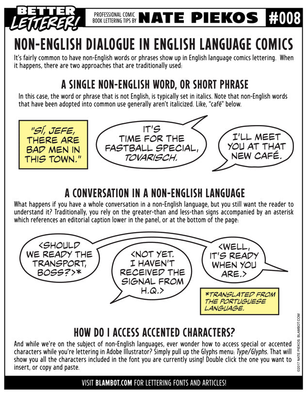 Better Letterer 8: Non-English Dialogue