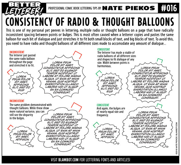 Better Letterer 16: Consistent Radio and Thought Balloons
