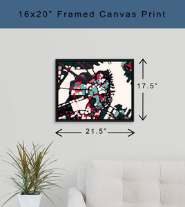 Framed Canvas Gallery Wrap - Abstract City Map Art by Carland Cartography