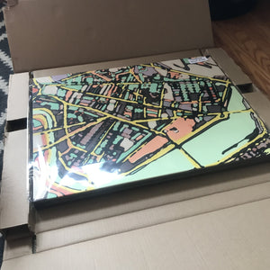 "Cambridge (Green). 18x24"" Canvas Print - Abstract City Map Art by Carland Cartography"