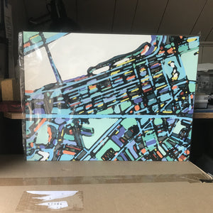"Boston Back Bay. 18x24"" Canvas Print - Abstract City Map Art by Carland Cartography"