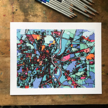 Load image into Gallery viewer, Hartford, CT - Abstract City Map Art by Carland Cartography