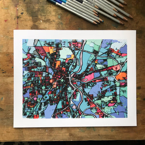 Hartford, CT - Abstract City Map Art by Carland Cartography