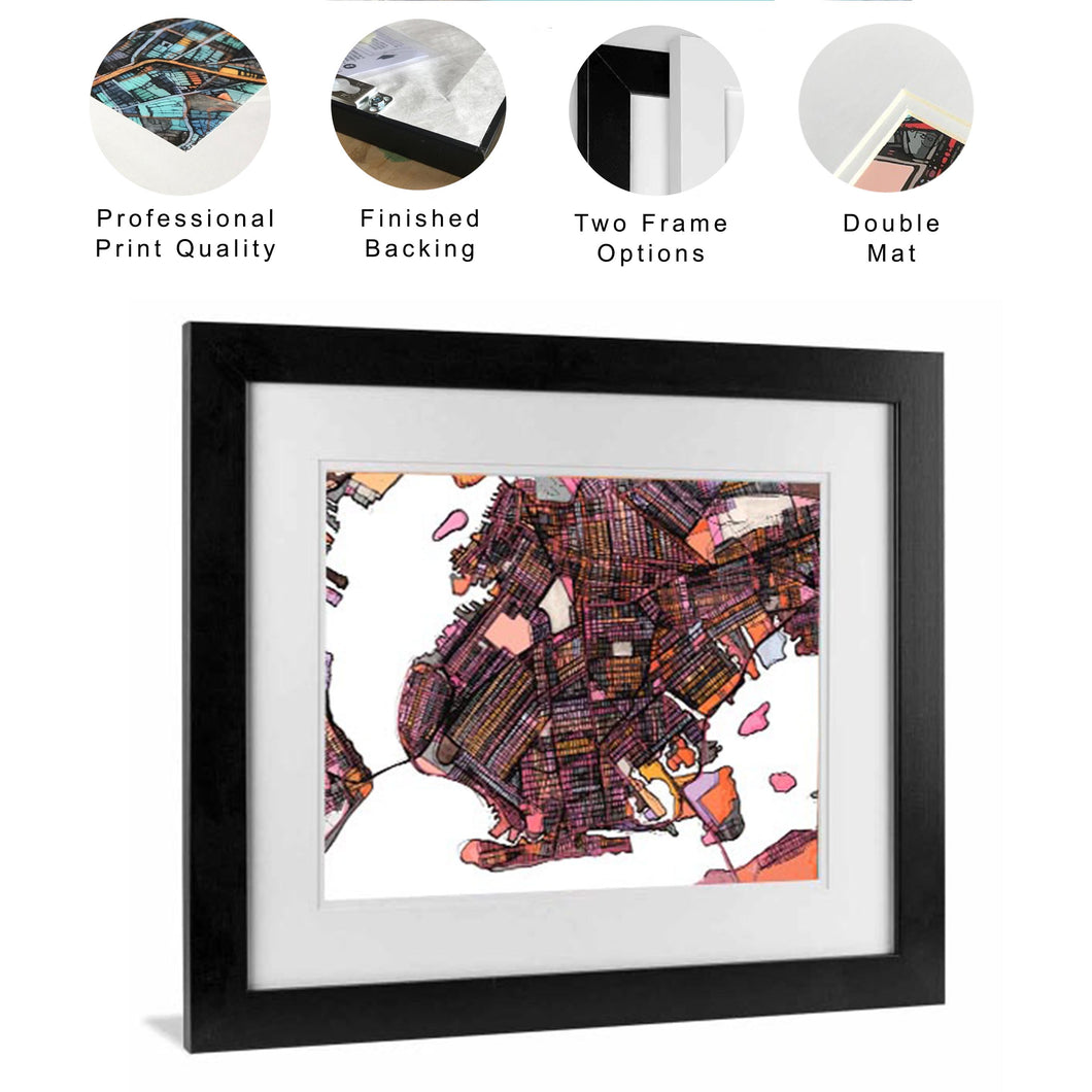 Framed Print - Abstract City Map Art by Carland Cartography