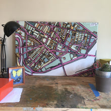 "Load image into Gallery viewer, Cambridge (Purple). 20x30"" Canvas Print - Abstract City Map Art by Carland Cartography"