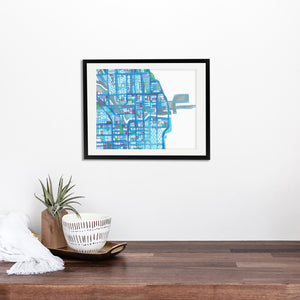 Navy Pier, Chicago (Blue) - Abstract City Map Art by Carland Cartography