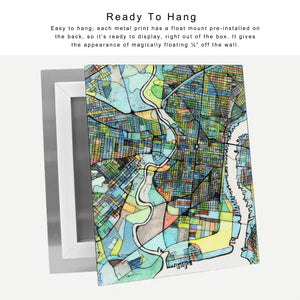 High Gloss Metal Print - Abstract City Map Art by Carland Cartography