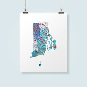 RHODE ISLAND State Map - Abstract City Map Art by Carland Cartography