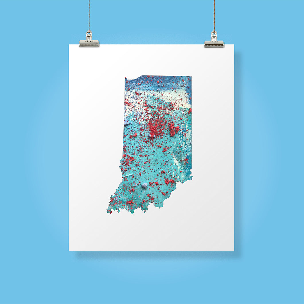 INDIANA State Map - Abstract City Map Art by Carland Cartography