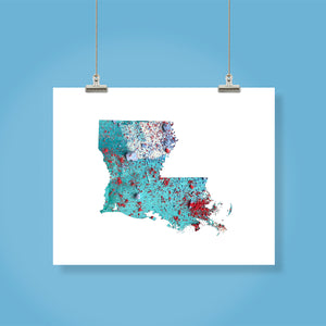 LOUISIANA State Map - Abstract City Map Art by Carland Cartography