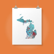 Load image into Gallery viewer, MICHIGAN State Map - Abstract City Map Art by Carland Cartography