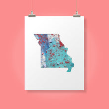 Load image into Gallery viewer, MISSOURI State Map - Abstract City Map Art by Carland Cartography