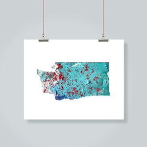 WASHINGTON State Map - Abstract City Map Art by Carland Cartography