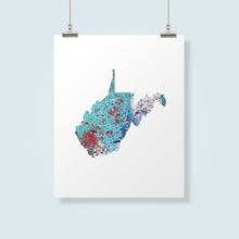 Load image into Gallery viewer, WEST VIRGINIA State Map - Abstract City Map Art by Carland Cartography