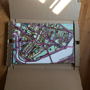 "Cambridge (Purple). 20x30"" Canvas Print - Abstract City Map Art by Carland Cartography"