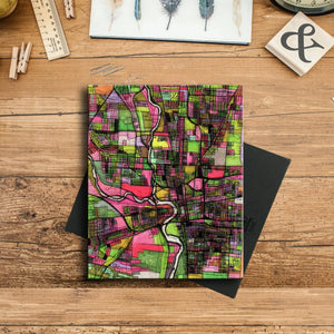 "Columbus OH. 11x14"" Canvas Print - Abstract City Map Art by Carland Cartography"