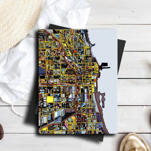"Chicago IL. 11x14"" Canvas Print - Abstract City Map Art by Carland Cartography"