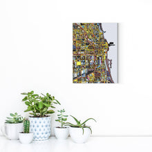 "Load image into Gallery viewer, Chicago IL. 11x14"" Canvas Print - Abstract City Map Art by Carland Cartography"