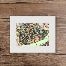 "Load image into Gallery viewer, Cambridge, MA. 11x14"" Matted Print - Abstract City Map Art by Carland Cartography"