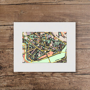 "Cambridge, MA. 11x14"" Matted Print - Abstract City Map Art by Carland Cartography"