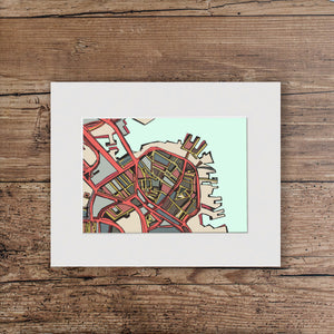 "Boston North End. 11x14"" Matted Print - Abstract City Map Art by Carland Cartography"