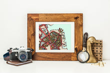 "Load image into Gallery viewer, Boston North End. 11x14"" Matted Print - Abstract City Map Art by Carland Cartography"