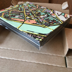 "Cambridge MA. 8x10"" Canvas Print - Abstract City Map Art by Carland Cartography"