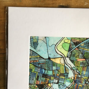 "Philadelphia, PA. 11x14"" Matted Print - Abstract City Map Art by Carland Cartography"