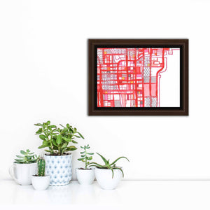 "Chicago Loop, Chicago IL. 5x7"" Framed Canvas Print - Carland Cartography"
