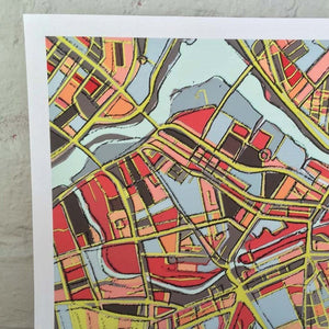 Lowell, MA (Yellow) - Abstract City Map Art by Carland Cartography