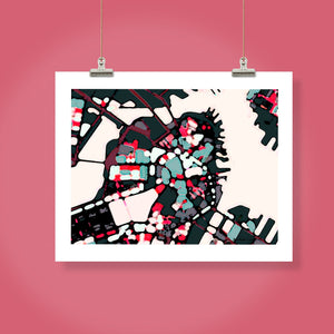 "Boston Harbor, MA. 16x20"" Matted Print - Abstract City Map Art by Carland Cartography"