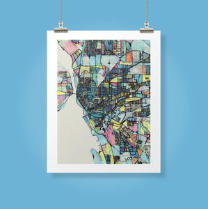 "Buffalo NY.  20x24"" Matted Print - Abstract City Map Art by Carland Cartography"