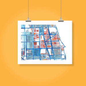 "Rogers Park, Chicago IL. Framed 8x10"" Print - Abstract City Map Art by Carland Cartography"