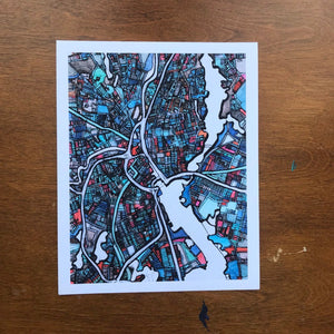 Providence, RI - Abstract City Map Art by Carland Cartography