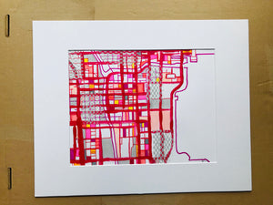 "Chicago Loop (Red) - Original 16x20"" Drawing - Abstract City Map Art by Carland Cartography"