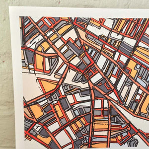 Porter Square, Cambridge MA - Abstract City Map Art by Carland Cartography