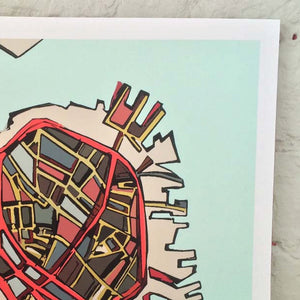 Boston North End - Abstract City Map Art by Carland Cartography
